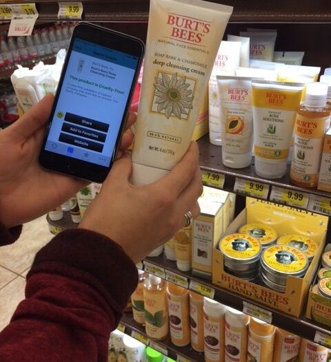 Scanning products in store with the BFP's Cruelty Cutter app