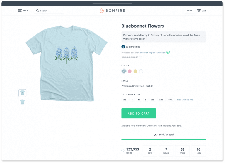 Bonfire's t-shirt fundraising site makes apparel fundraising easier than ever.