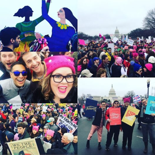 Stellhorn and LaRue with friends at the Women's March in Washington in D.C, Photo Credits: Amy Stellhorn, Big Monocle