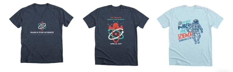 These custom designed t-shirts for the March for Science are a great example of adapted branding.