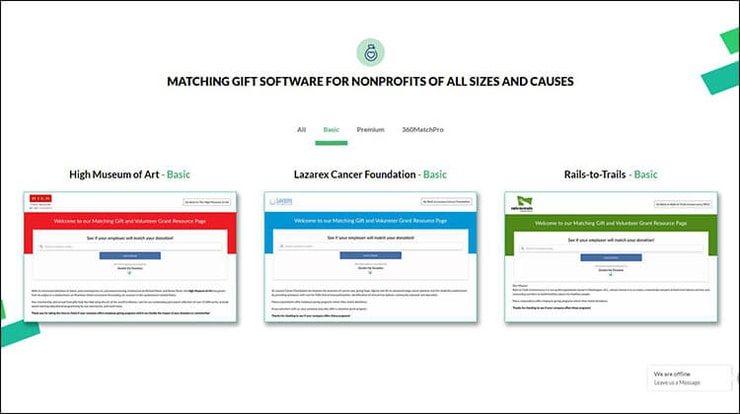 Embed a matching gift tool in any of your top performing fundraising websites.