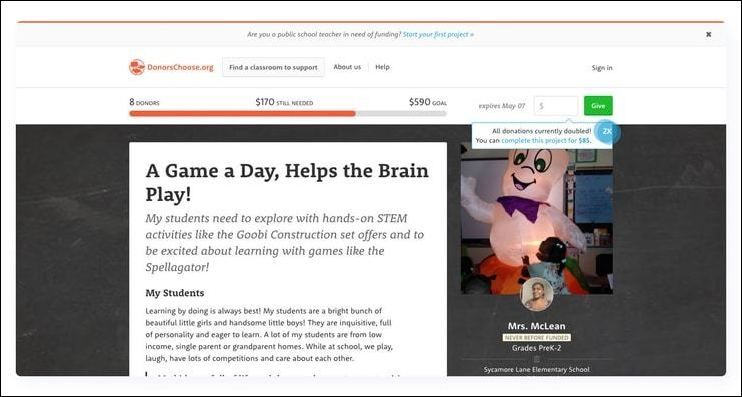 DonorsChoose is a top fundraising website for teachers.