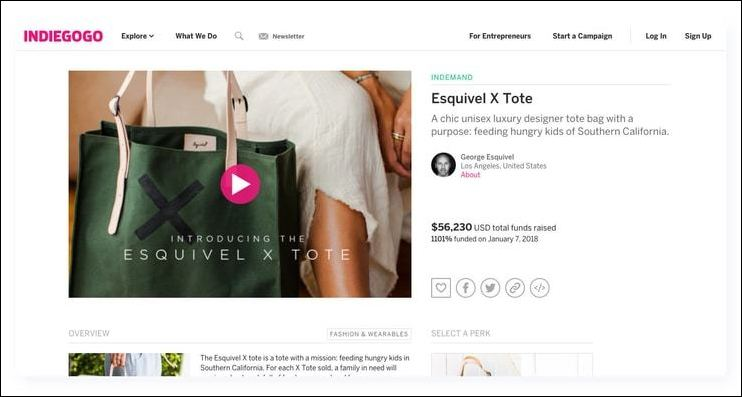 Indiegogo is one of the best fundraising websites for creative projects, and it has a wide audience.