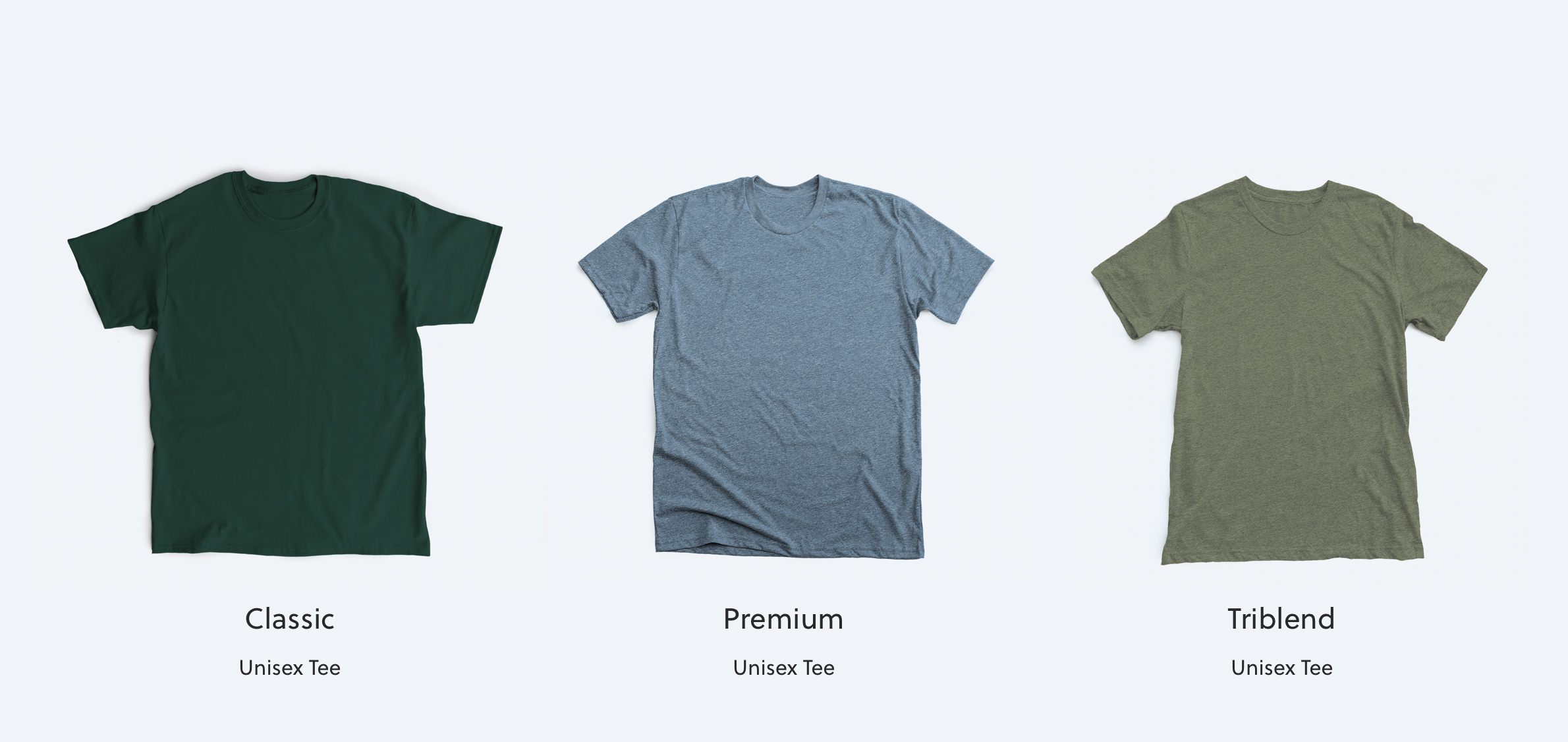 How our classic, premium, and triblend shirts all compare to each other.