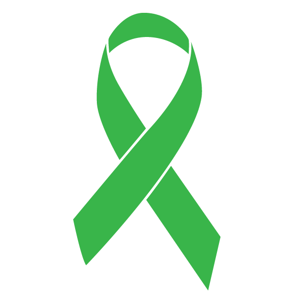 Green colored Adrenal Cancer ribbon