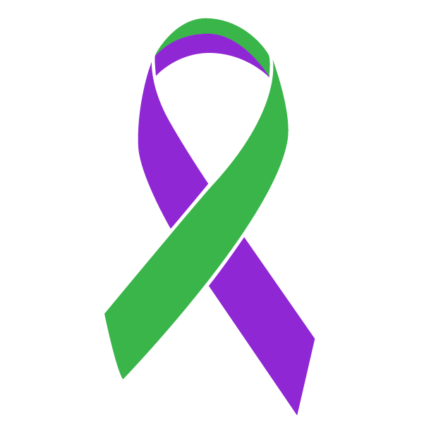 Green and purple colored Anal Cancer ribbon