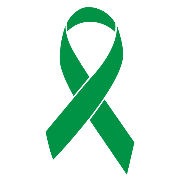Kelly green colored Bile Duct Cancer ribbon