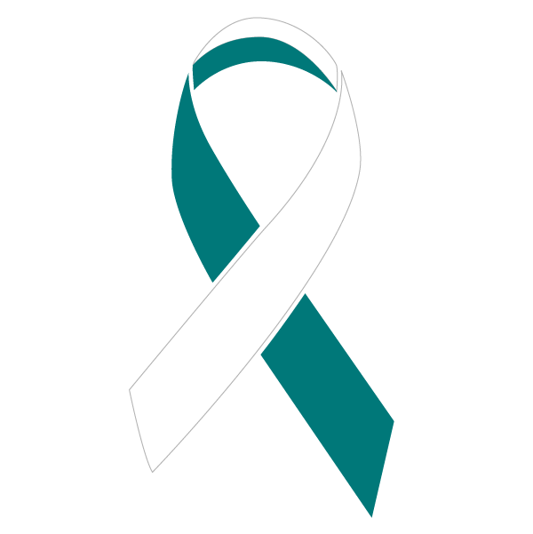 Teal and White colored Cervical Cancer ribbon
