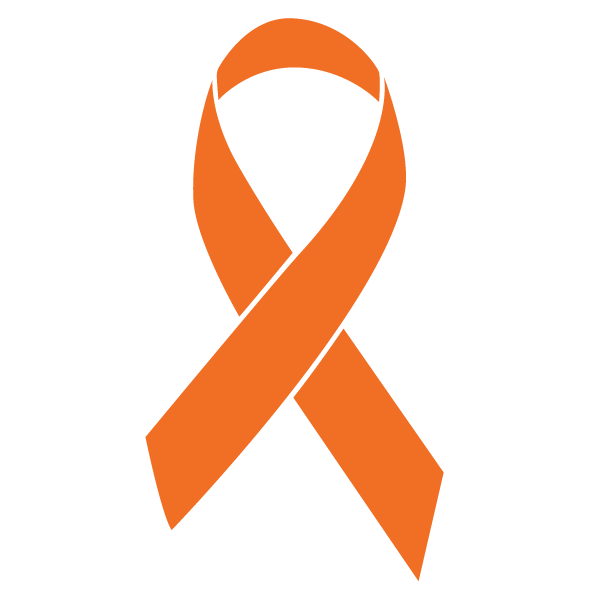 Orange colored Kidney Cancer ribbon
