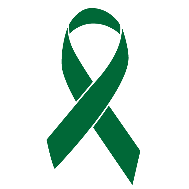 Emerald green colored Liver Cancer ribbon