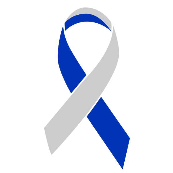 Blue and silver colored Living with Cancer ribbon