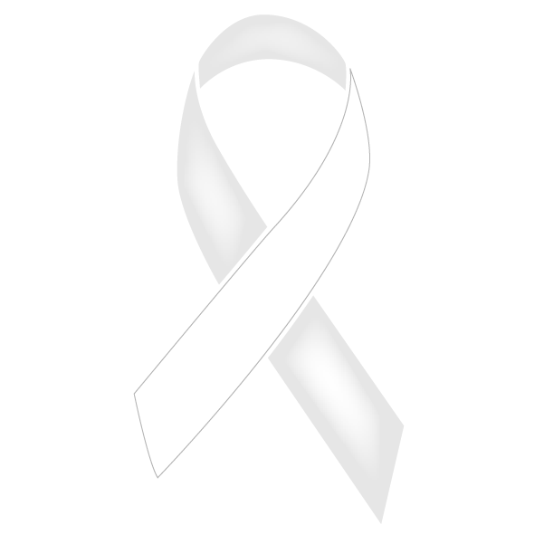 Pearl and white colored Lung Cancer ribbon