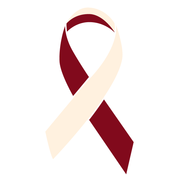 Burgundy and ivory colored Oropharyngeal Cancer ribbon