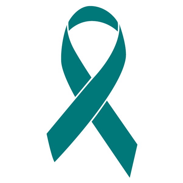 Teal colored Ovarian Cancer ribbon