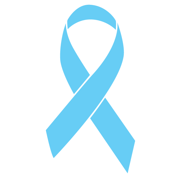Light blue colored Prostate Cancer ribbon