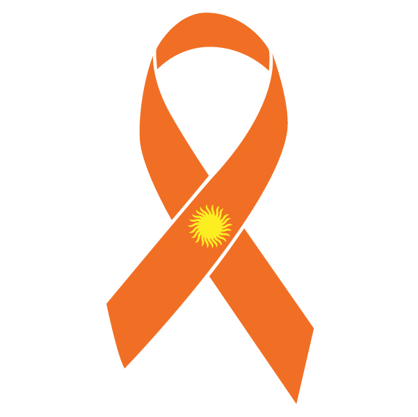 Orange with a Sun Skin Cancer ribbon