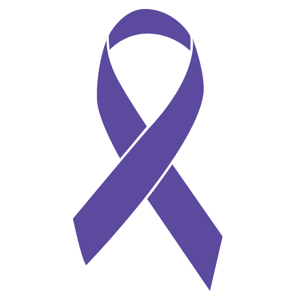 Violet colored Testicular Cancer ribbon