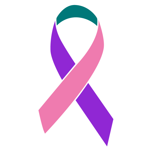 Purple, teal, and pink colored Thyroid Cancer ribbon