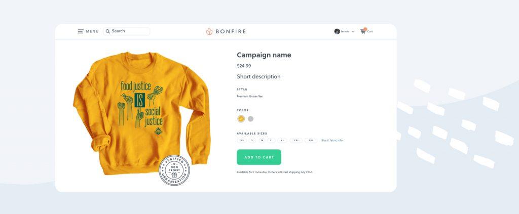Bonfire Fundraising Campaign page