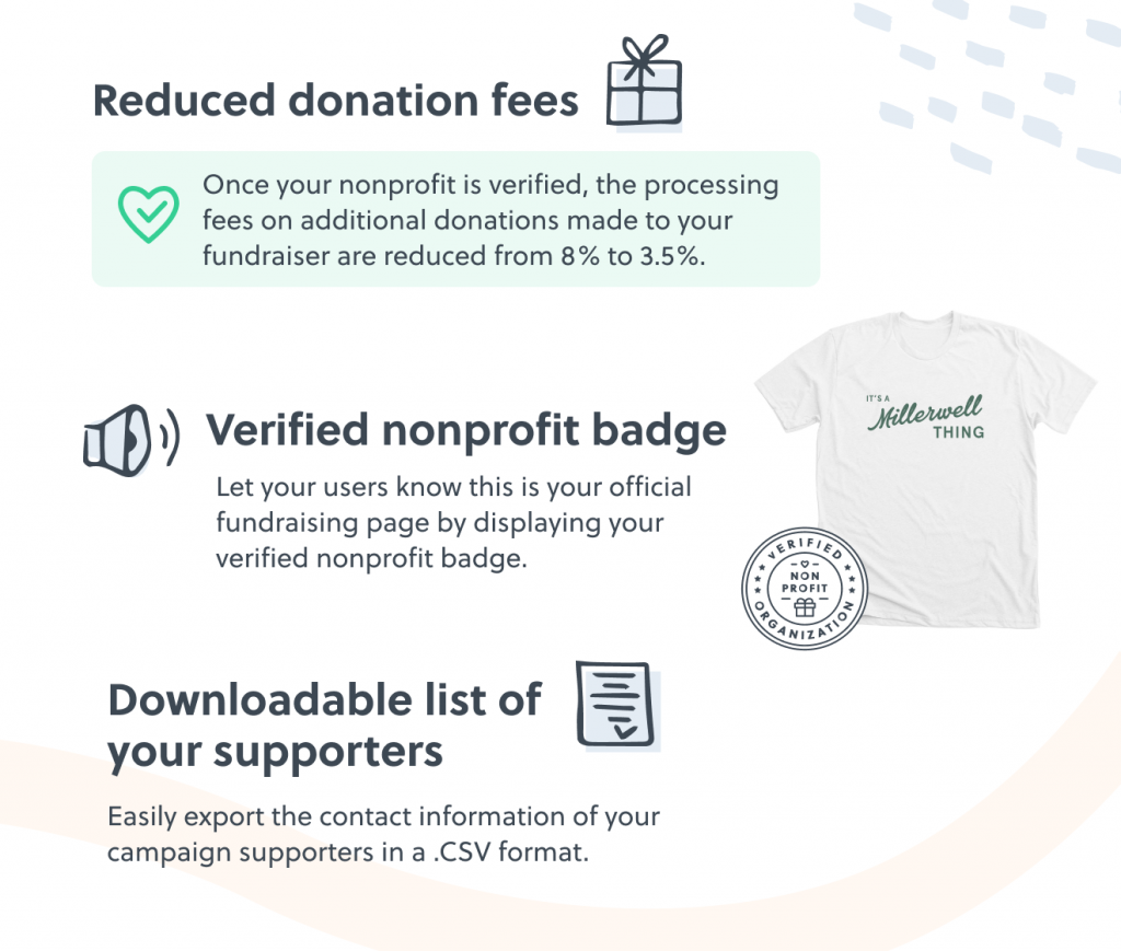 Verified nonprofits on Bonfire receive reduced donation fees, an exclusive nonprofit badge, and gain the ability to download the contact information of all campaign supporters.