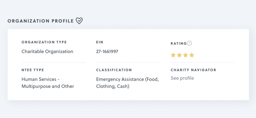 Org Profile Page info box