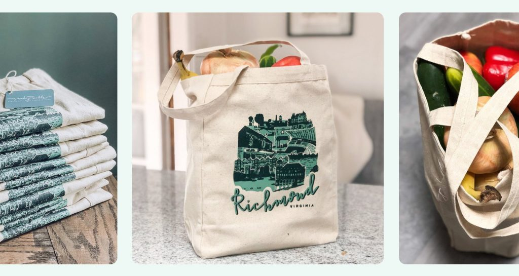 Custom tote bags being used for groceries.