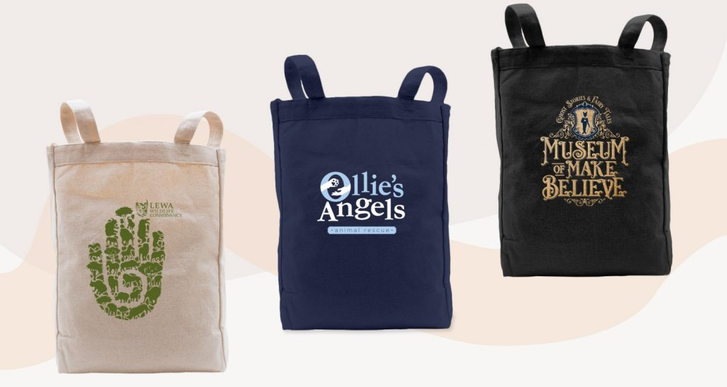 Tote bags with large brand logos.