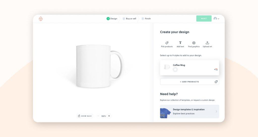 Designing a custom mug on Bonfire.com