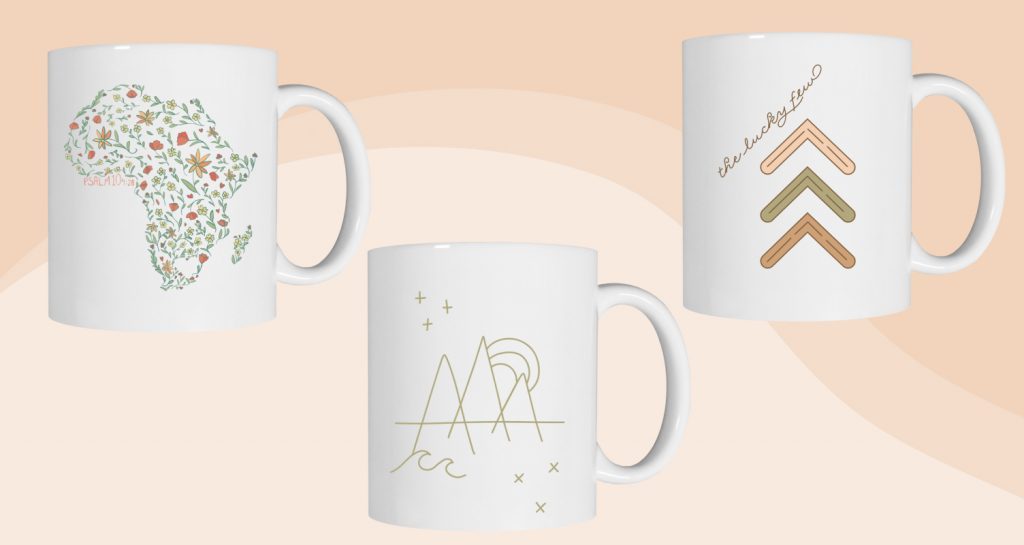 Custom mugs designed with neutral colors.
