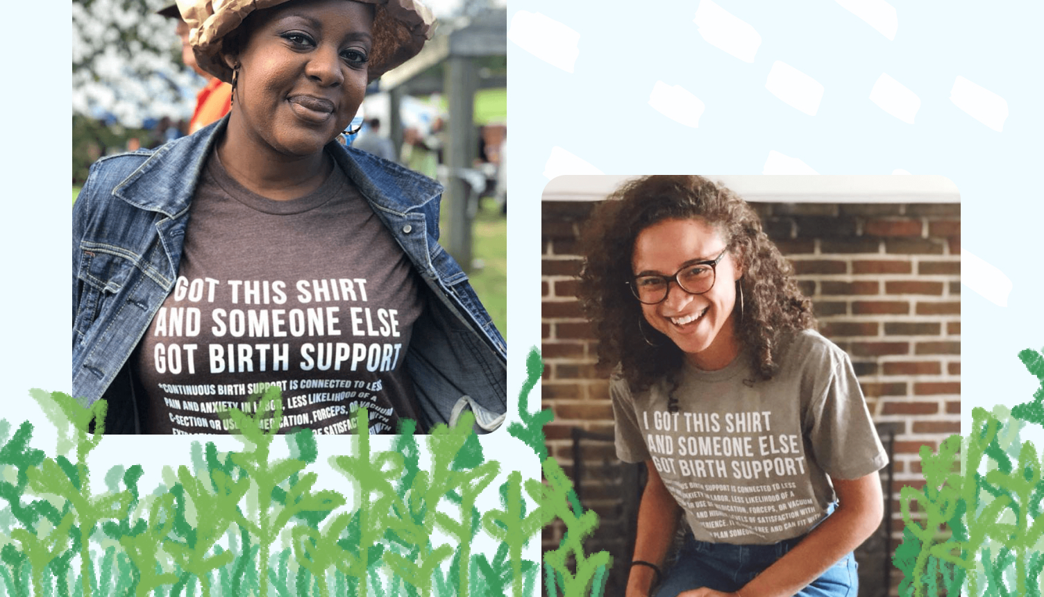 Two women wearing t-shirts that support a local charity