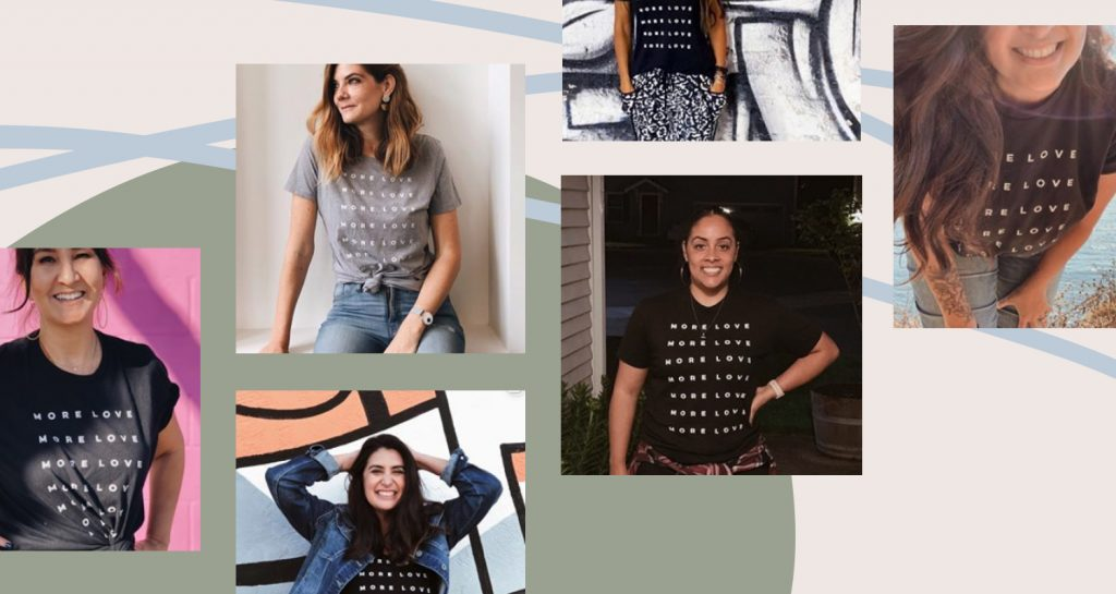 Mint an Merit uses #morelovetee to collect photos of her community in their More Love Tees that she created on Bonfire.