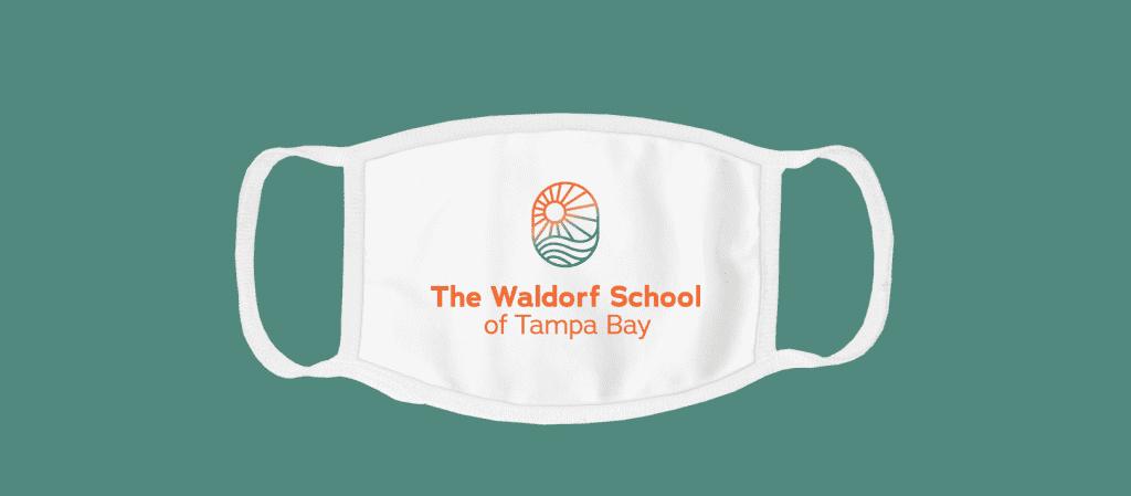 Custom face mask with a company logo.