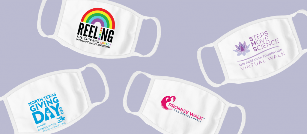 Custom face masks can be designed to promote an upcoming event.