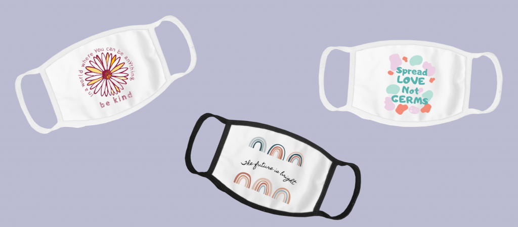 Face masks designed with custom artwork and illustrations.