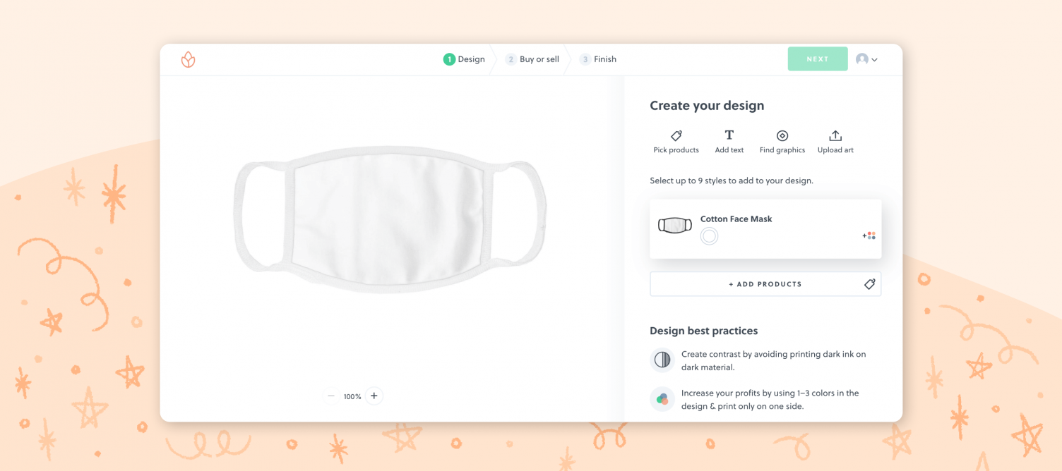 use an online editing tool to design your custom face mask