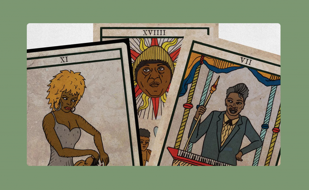 Black Power Tarot Cards created by King Khan and designed by Michael Eaton.