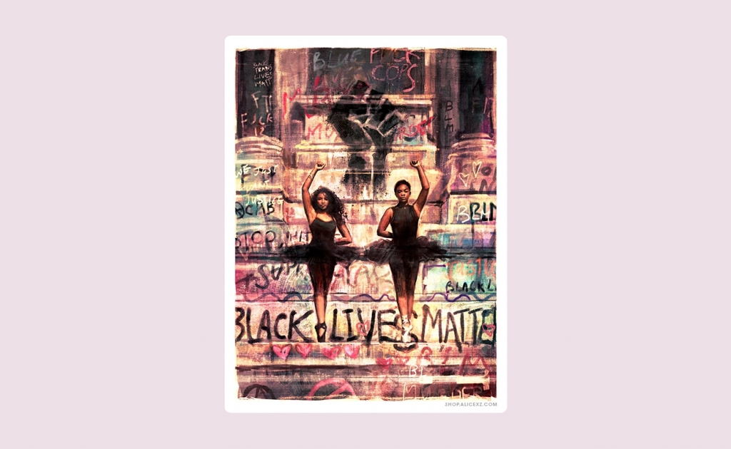 Duality, a print of two black ballerinas in front of the Robert E. Lee statue during the Black Lives Matter movement in Richmond, VA.