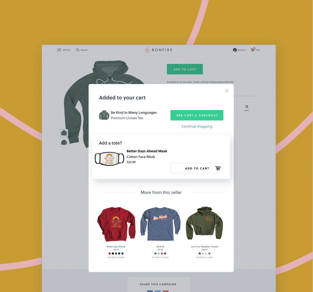 "The ""quick-add"" feature lets your buyers quickly add other items that you have for sale, directly from within their cart."