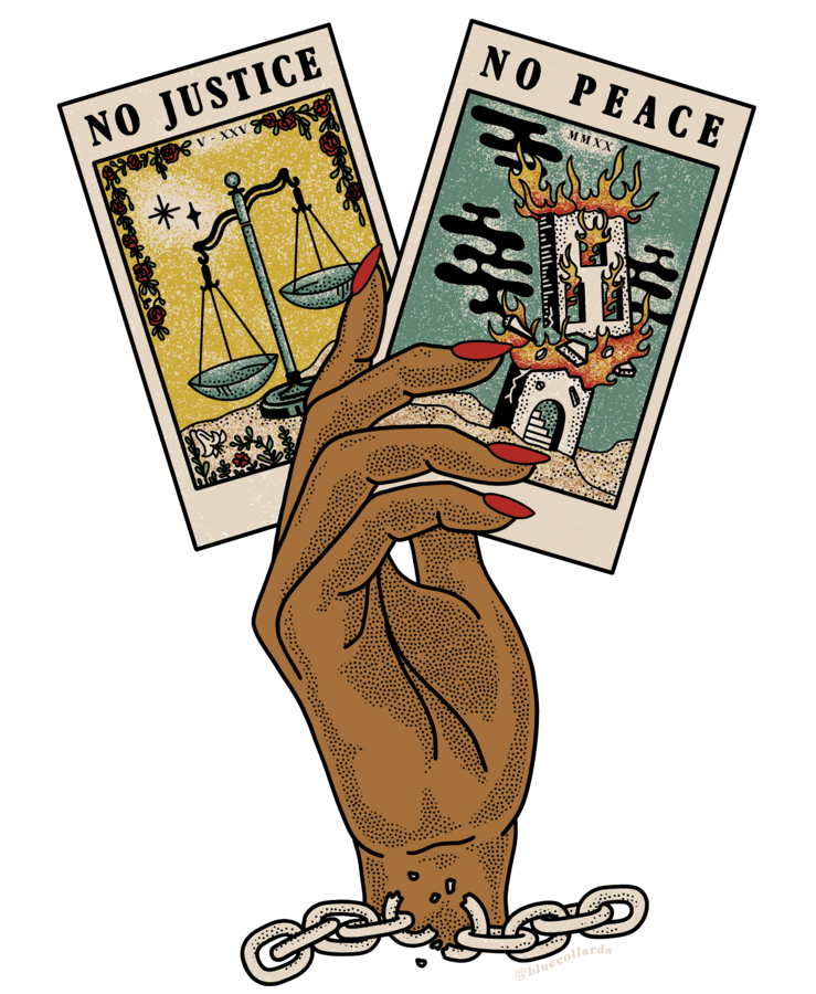 The No Justice No Peace t-shirt design created by Manda Sesko.