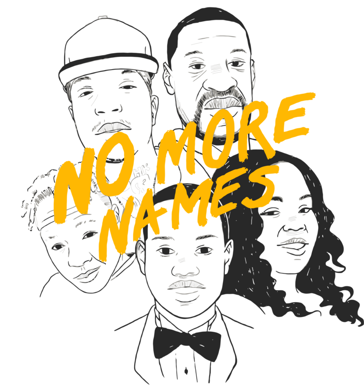 The No More Names t-shirt design created by Jeffrey Burke and Lindsey Floyd.