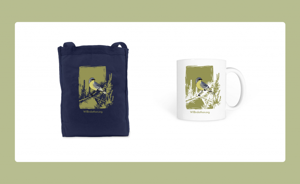 The Great Wisconsin Birdathon tote bag and coffee mug for sale on bonfire.com