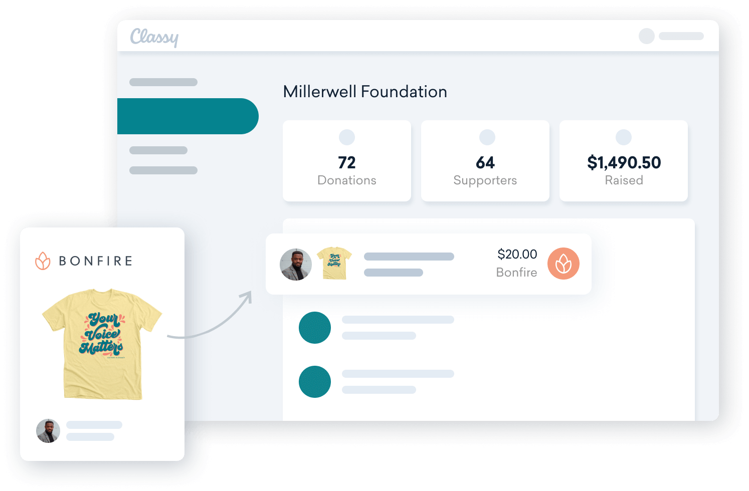 The Bonfire + Classy integration creates a seamless fundraising experience across the two platforms.
