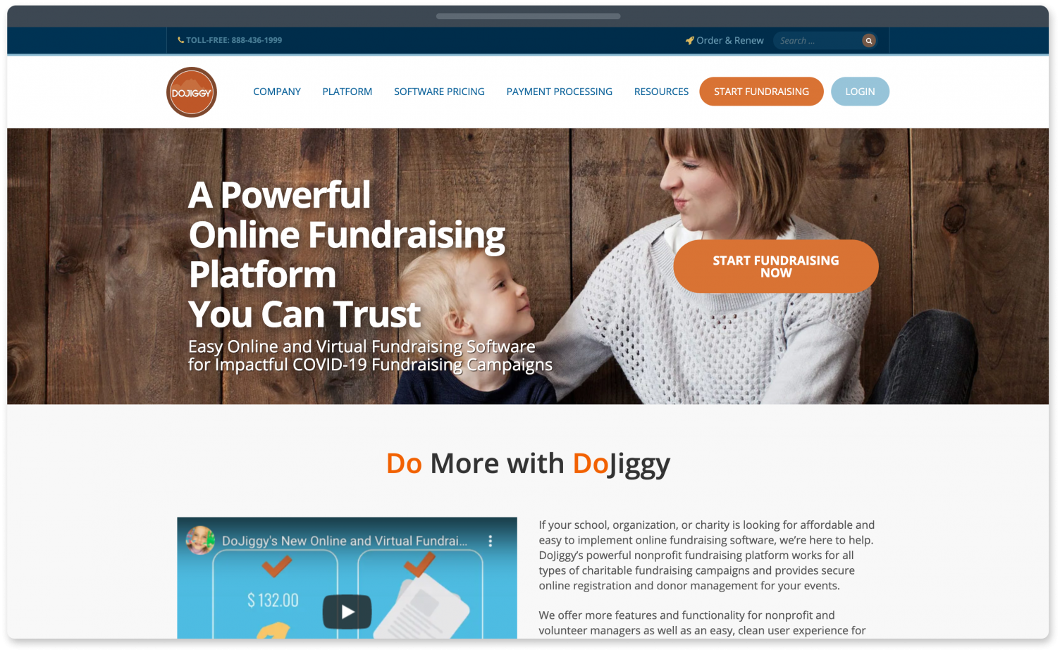 DoJiggy fundraising website for events.