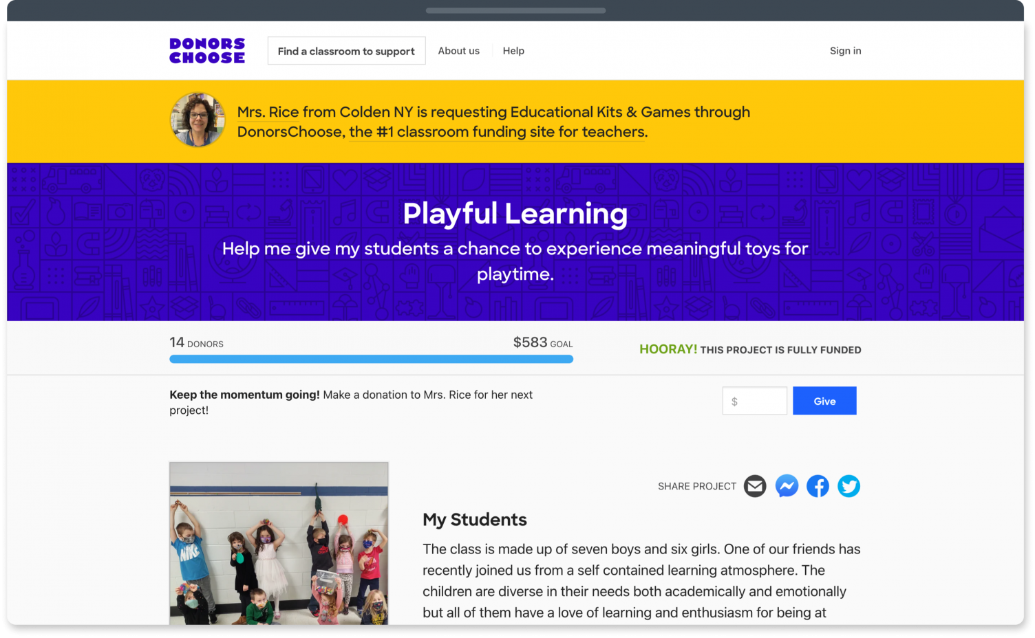 DonorsChoose fundraising website for teachers and classroom fundraisers.