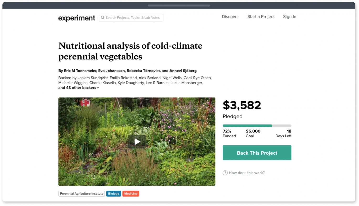 Experiment fundraising website for scientific research.