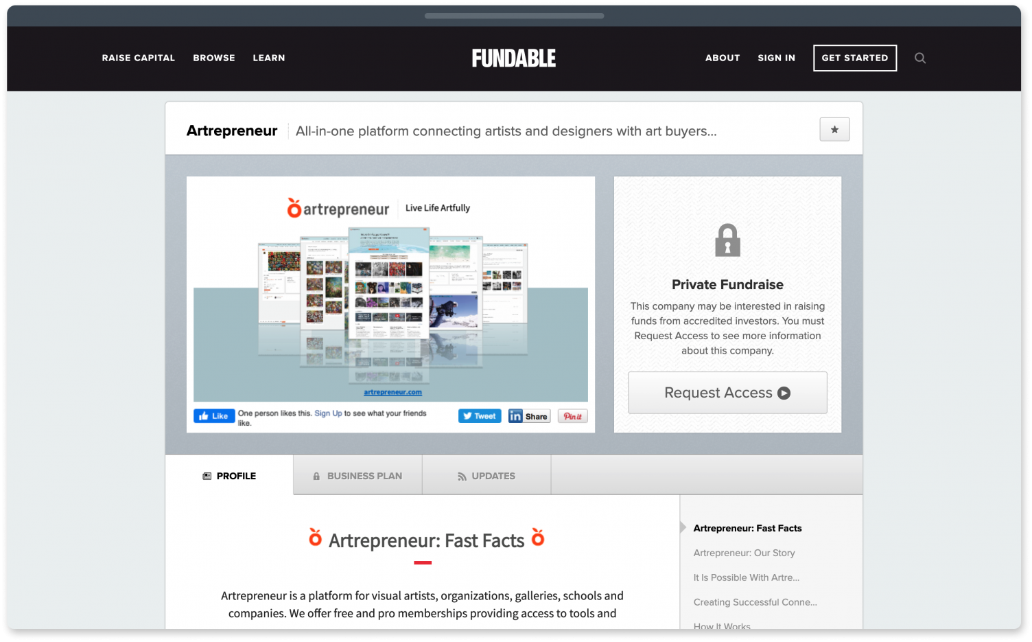 Fundable, a fundraising website for startups.