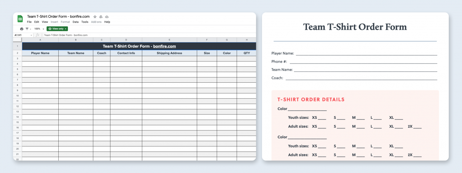 T-Shirt Order Form  Free PDF & Excel Template  Bonfire Inside Blank T Shirt Order Form Template