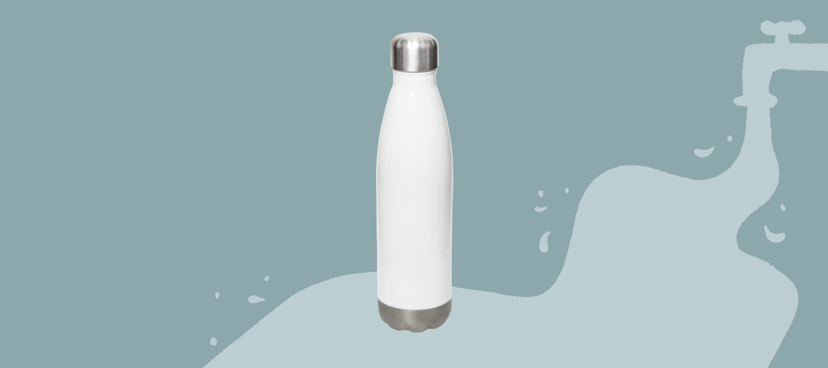 A white stainless steel water bottle.