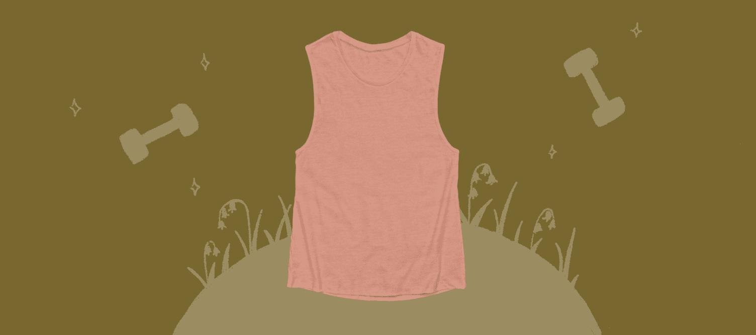 A pink women's muscle tank top.