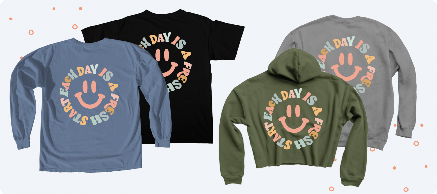 Each Day is a Fresh Start Smiley merch from the famous TikTok creator Brittany Lupton.